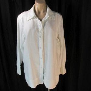 Sigrid Olsen White Linen Big Shirt 1X Button Colla